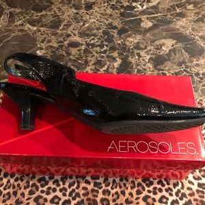 Aerosoles Dimsical Black Patent Slingback Shoes